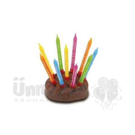 Színes Happy Birthday Gyertya - 8 cm, 10 db-os