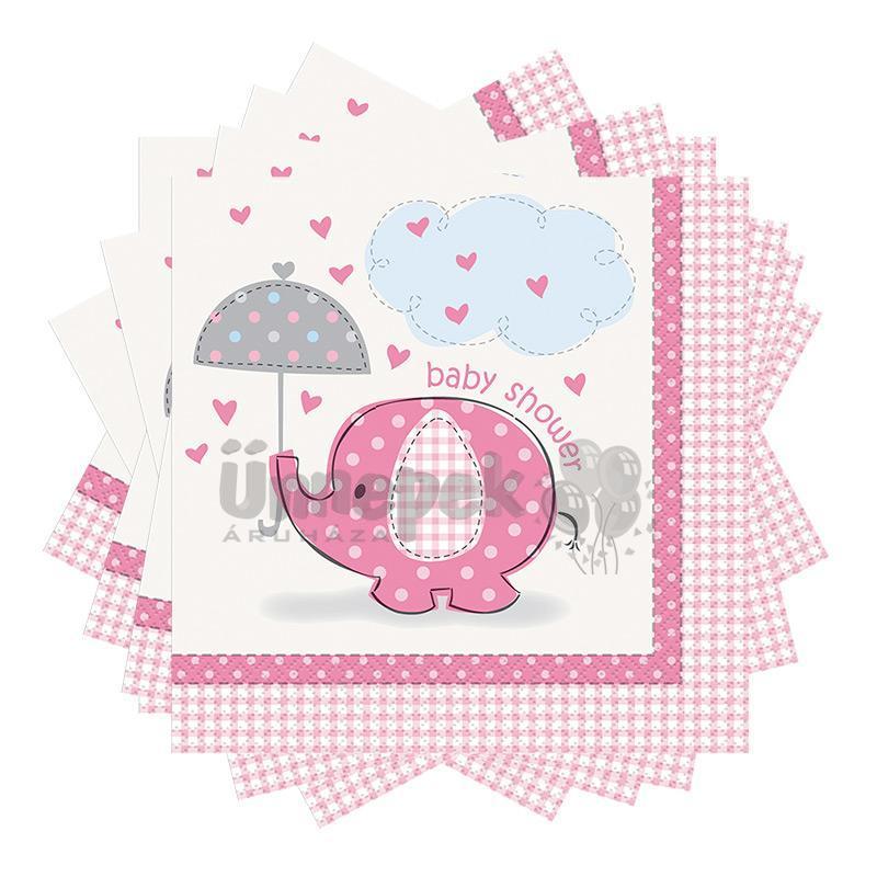Pink Baby Shower - Bébielefánt Mintás Parti Szalvéta Babaszületésre - 33 cm x 33 cm,