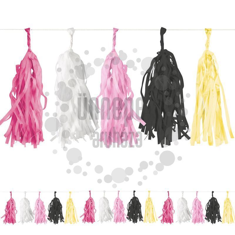 Pink-Fehér-Fekete-Arany Rojtos Girland Dekorációs Füzér - 300 cm
