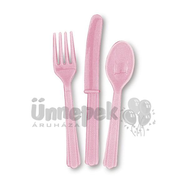 Pink Műanyag Parti Evőeszköz Válogatás - 18 db-os