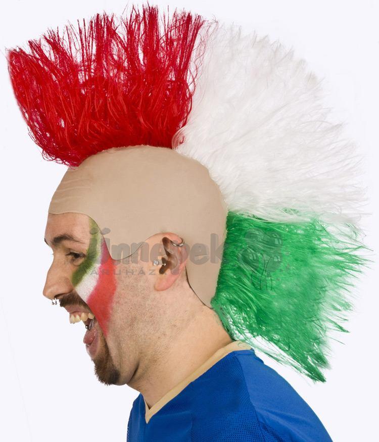 Piros Fehér Zöld Punk Szurkolói Paróka