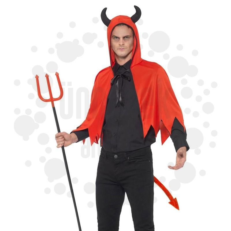 Piros Ördög Készlet Felnőtteknek Köpennyel, Farokkal és Szigonnyal