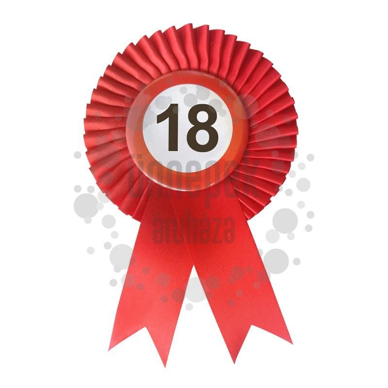 Piros Szalagos 18-as Sebességkorlátozó Szülinapi Számos Parti Kitűző