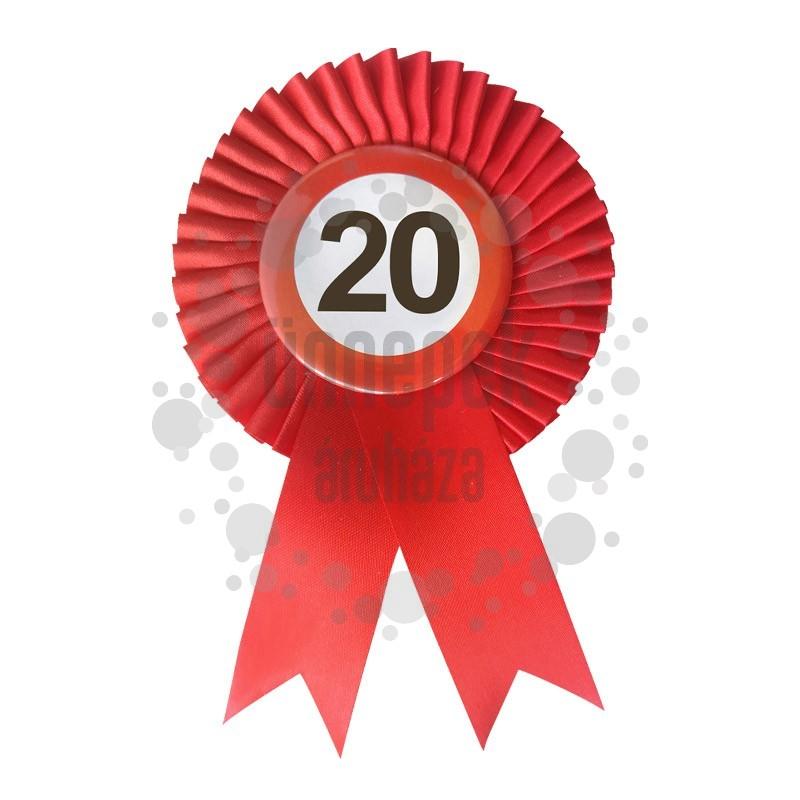 Piros Szalagos 20-as Sebességkorlátozó Szülinapi Számos Parti Kitűző