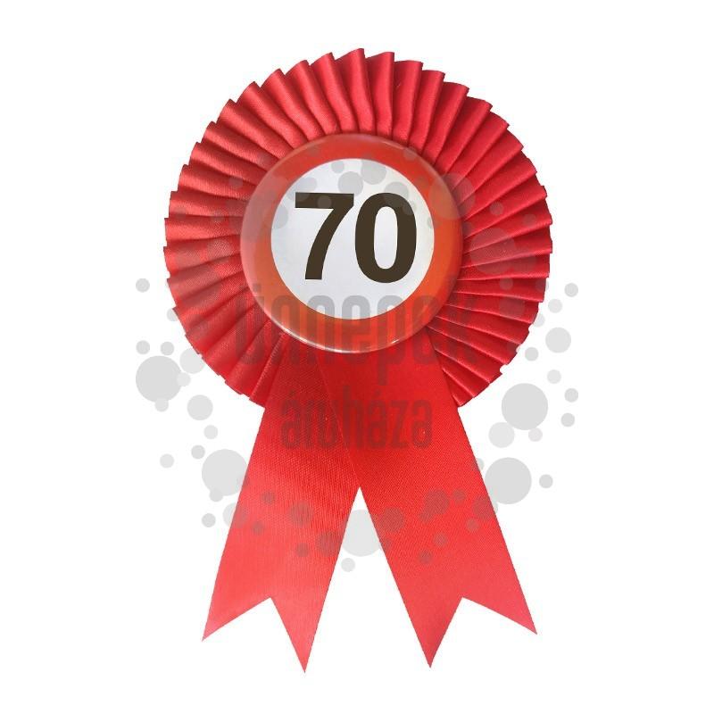 Piros Szalagos 70-es Sebességkorlátozó Szülinapi Számos Parti Kitűző