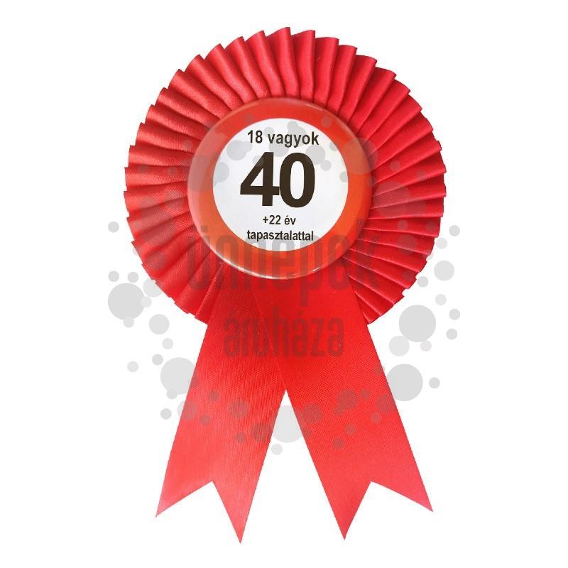 Piros Szalagos Nem vagyok 40... Sebességkorlátozó Szülinapi Parti Kitűző