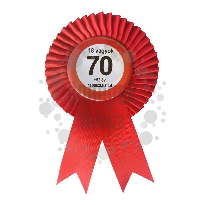 Piros Szalagos Nem vagyok 70... Sebességkorlátozó Szülinapi Parti Kitűző
