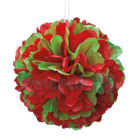 Piros-Zöld Bolyhos Függő Dekoráció Karácsonyra - 41 cm
