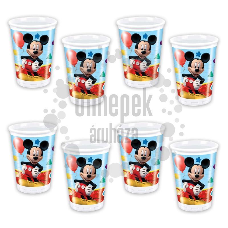 Mikiegér Playful Mickey Parti Pohár - 200 ml, 8 db-os