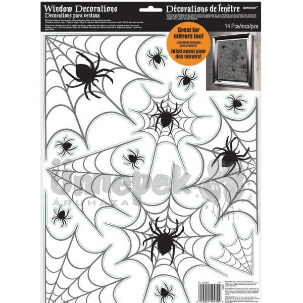 Pókháló Mintás Ablakdekoráció Halloweenre, 14 db-os