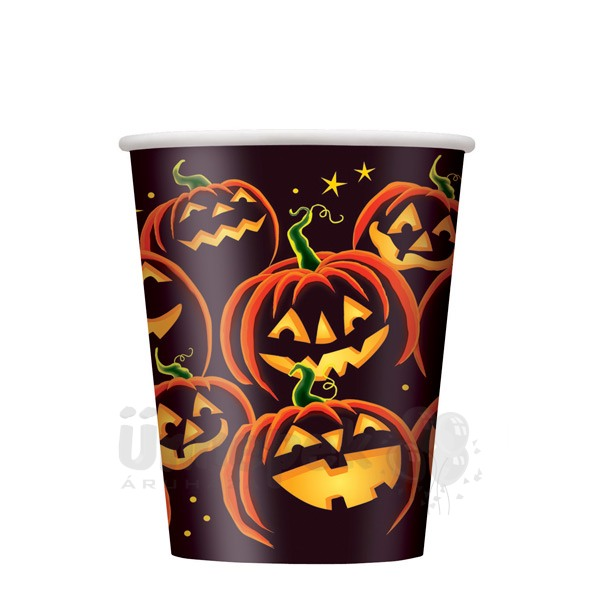 Pumpkin Grin Parti Pohár Halloweenre - 270 ml, 8 db-os