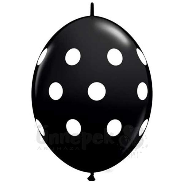 12 inch-es Big Polka Dots Onyx Black Quick Link Lufi (50 db/csomag)