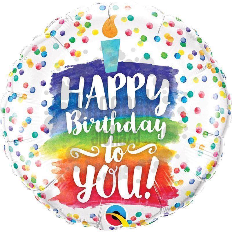 18 inch-es Happy Birthday to You Rainbow Cake Szülinapi Fólia Lufi