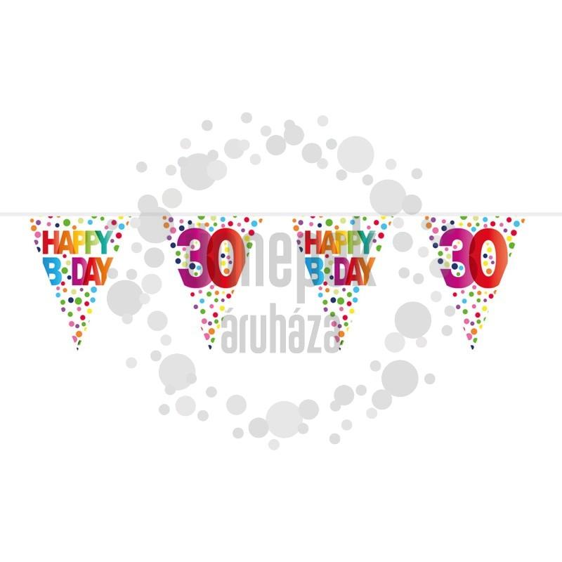 30-as Rainbow Dots - Színes Pöttyös Szülinapi Számos Parti Zászlófüzér - 10 m