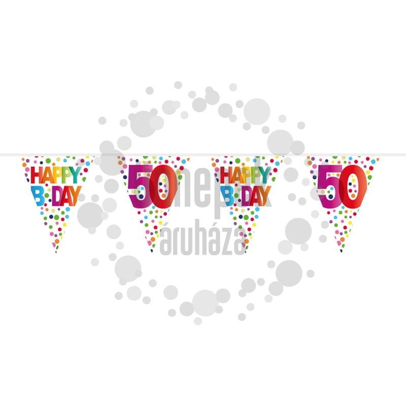 50-es Rainbow Dots - Színes Pöttyös Szülinapi Számos Parti Zászlófüzér - 10 m