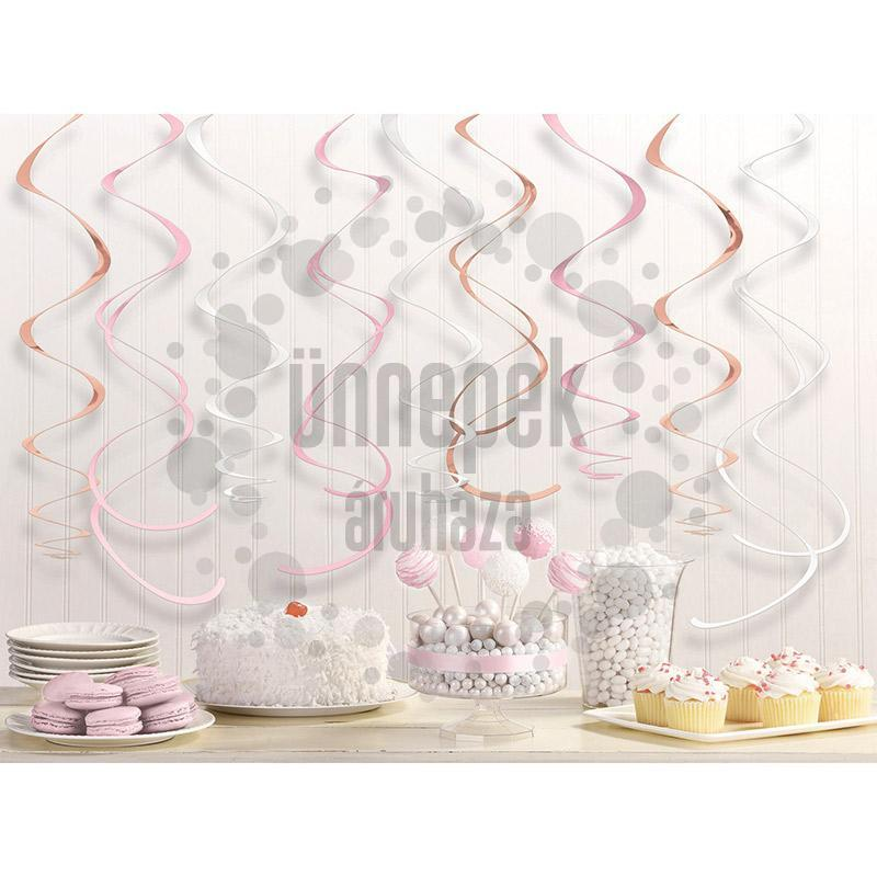 Rosegold-Pink-Fehér Spirális Függő Dekoráció - 56 cm, 12 db-os