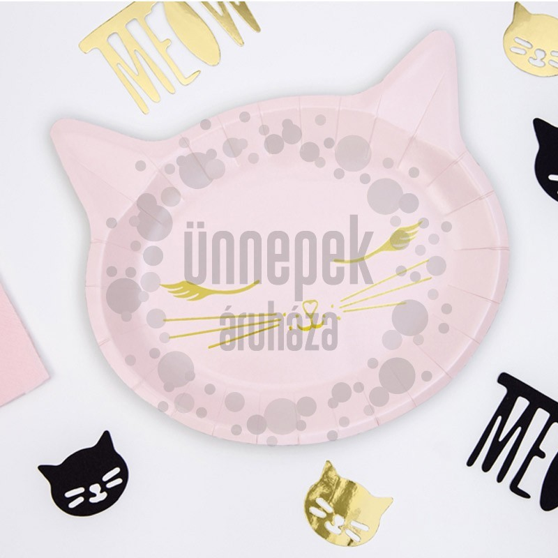 Rózsaszín Cicafej Formájú Parti Tányér - 22 cm, 6 db-os