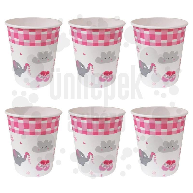 Rózsaszín Elefántos Parti Papír Pohár - 250 ml, 6 db-os
