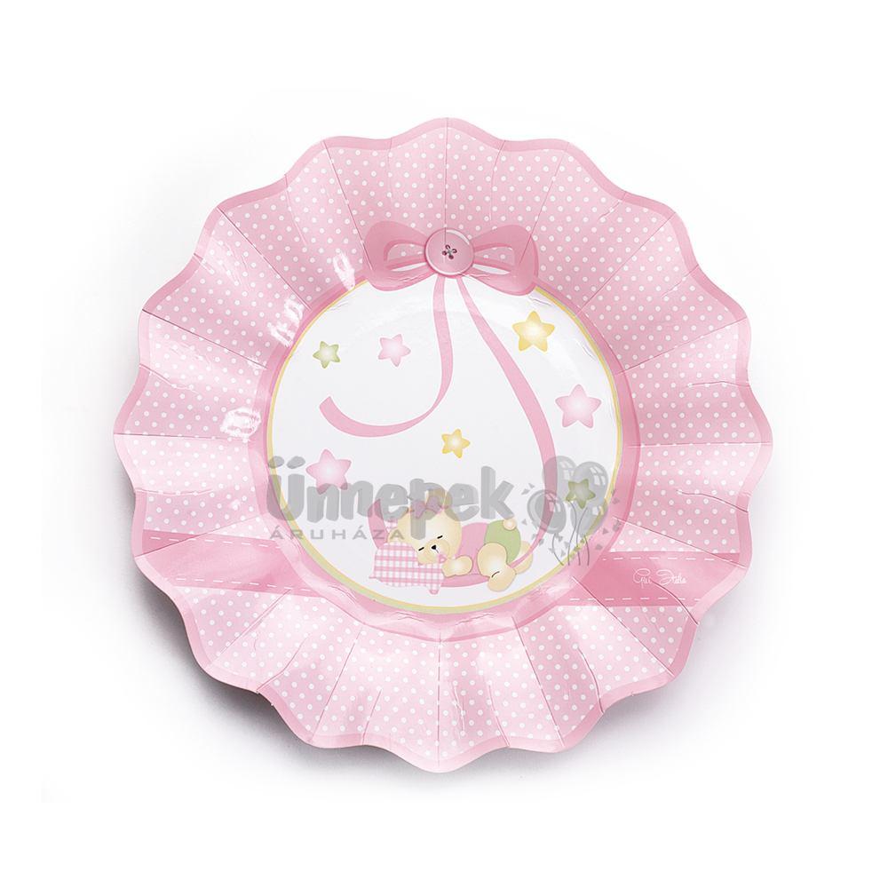Rózsaszín Macis Csillagos-Pöttyös Bébi Parti Tányér - 8 db-os, 21 cm