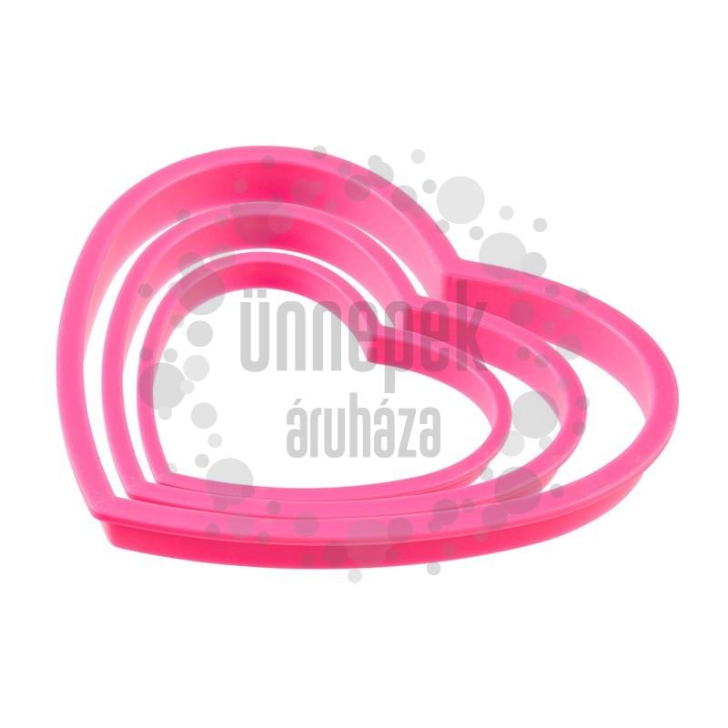 Rózsaszín Szíveket Ábrázoló Süti Formázó - 3 db-os