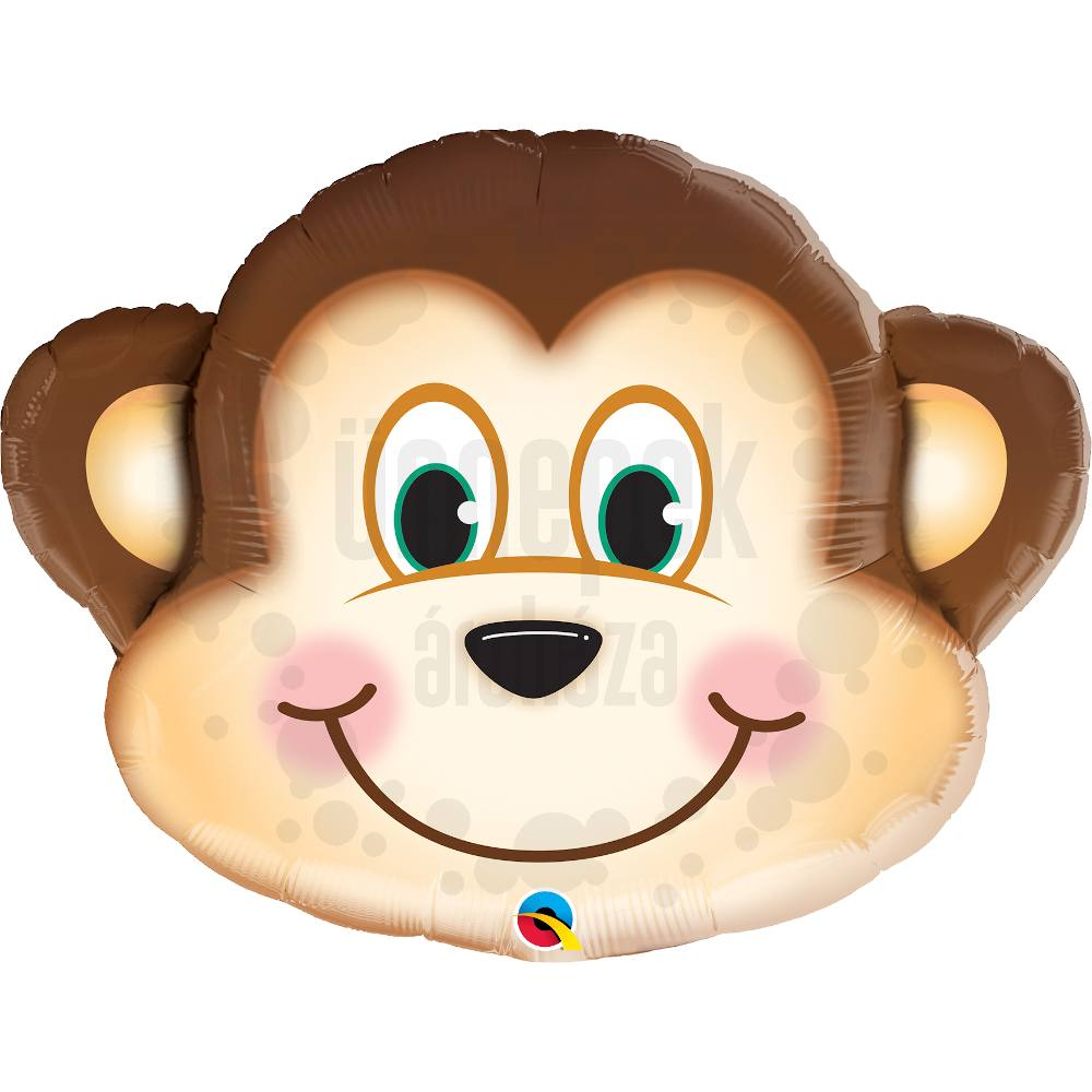 35 inch-es Mosolygós Majom Fej - Mischievous Monkey Super Shape Héliumos Fólia Lufi
