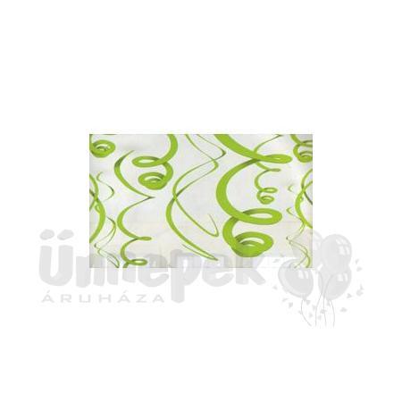 Zöld Spirális Függő Dekoráció - 56 cm, 12 db-os