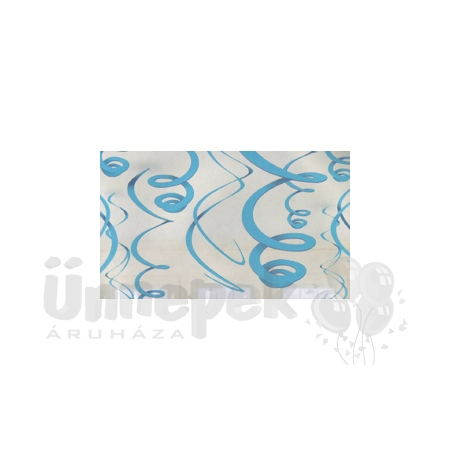 Világoskék Spirális Függő Dekoráció - 56 cm, 12 db-os