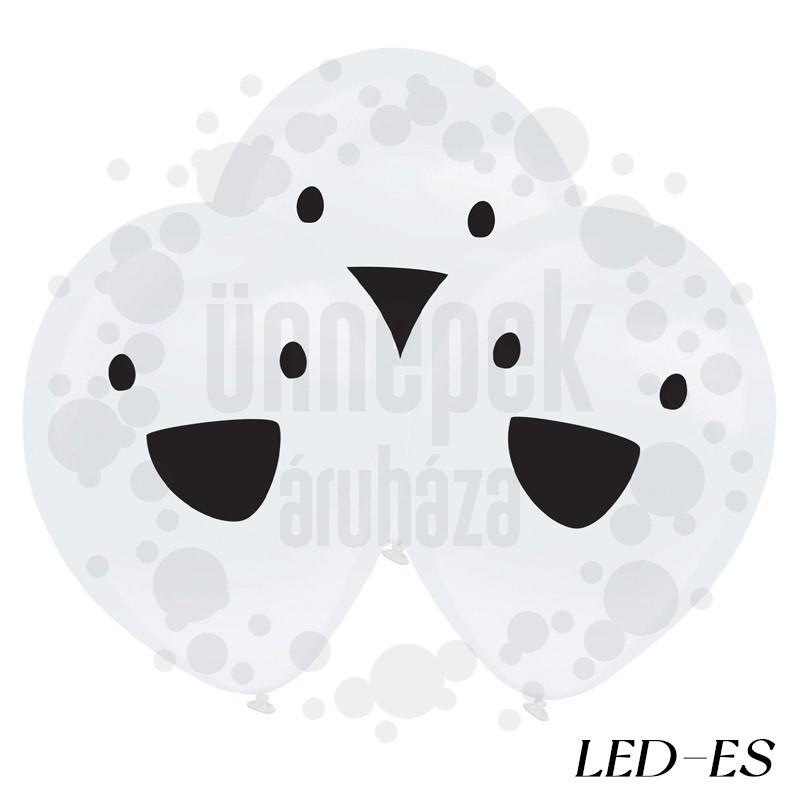 Szellem Mintás LED-es Lufi Halloween-ra - 4 db-os