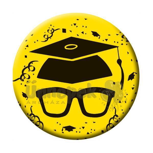 Szemüveg Kalappal Sárga Kitűző Ballagásra - 5,5 cm