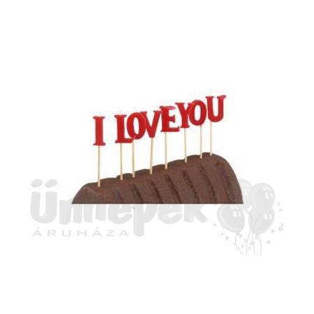 I Love You Feliratos Gyertya Szett - 8 cm
