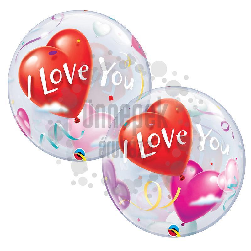 22 inch-es I Love You Heart Balloons Szerelmes Héliumos Bubble Lufi