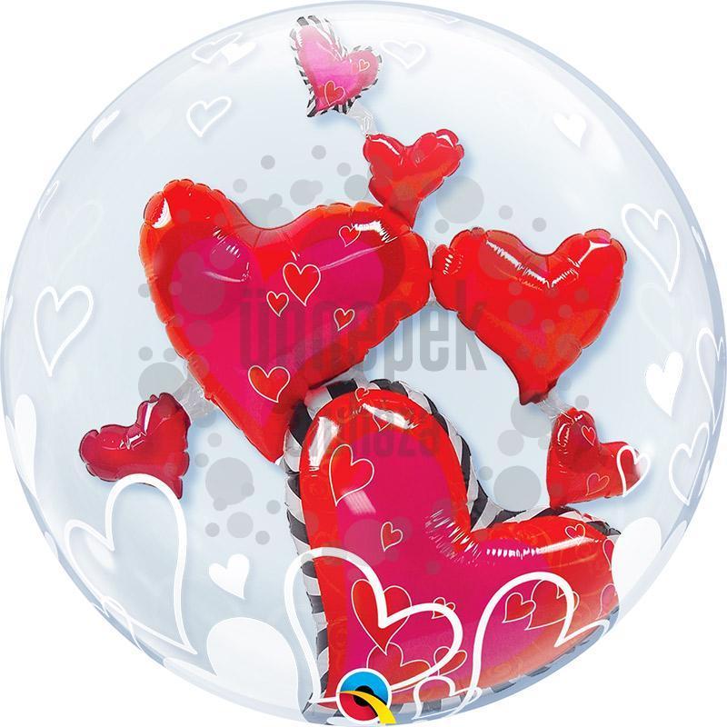 24 inch-es Lovely Floating Hearts Szerelmes Héliumos Double Bubble Lufi