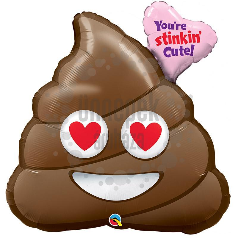 31 inch-es You're Stinkin Cute - Szerelmes Emoji Kaki Fólia Lufi Valentin-napra