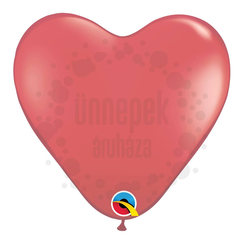 15 inch-es Ruby Red (Jewel) Szív Latex Lufi (10 db/csomag)