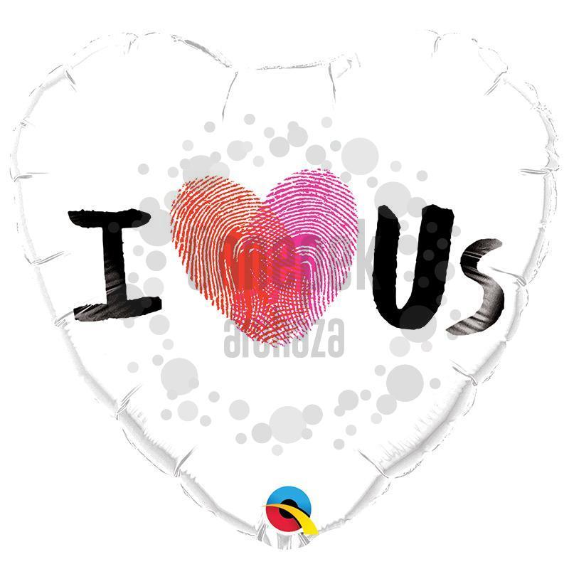 18 inch-es I (Thumbprint Heart) Us Fólia Lufi Valentin-napra
