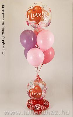 I Love You Heart Balloons Bubbles Szerelmes Lufi Dekoráció