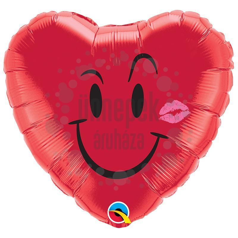 18 inch-es Pajkos Mosoly, Csók - Naughty Smile és A Kiss Szerelmes Héliumos Fólia Luf