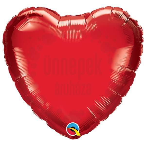 9 inch-es Rubinvörös - Ruby Red Szív Fólia Lufi Pálcán