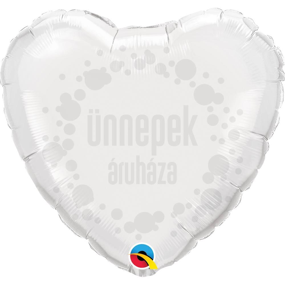 18 inch-es Fehér - White Szív Héliumos Fólia Lufi