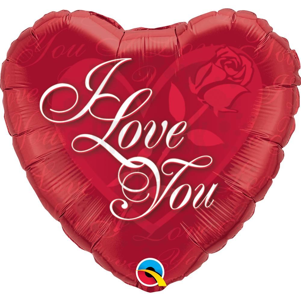 18 inch-es Rózsás Szív - I Love You Red Rose Szerelmes Héliumos Fólia Lufi