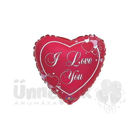 18 inch-es Love Script Hearts Szerelmes Héliumos Fólia Lufi