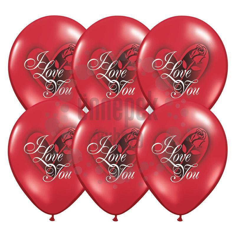 11 inch-es I Love You Red Rose Ruby Red Lufi (25 db/csomag)