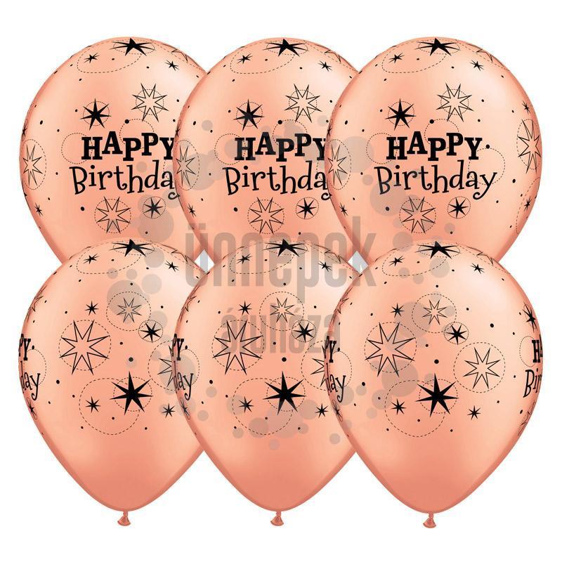 11 inch-es Birthday Sparkle Rosegold Szülinapi Lufi (6 db/csomag)