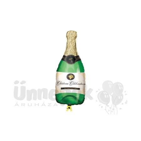 Pezsgősüveg - Champagne Bottle - Mini Shape Fólia Lufi Pálcán