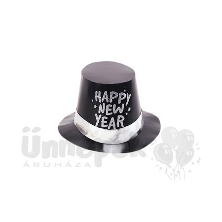 Happy New Year Feliratú Fekete Kalap Szilveszterre