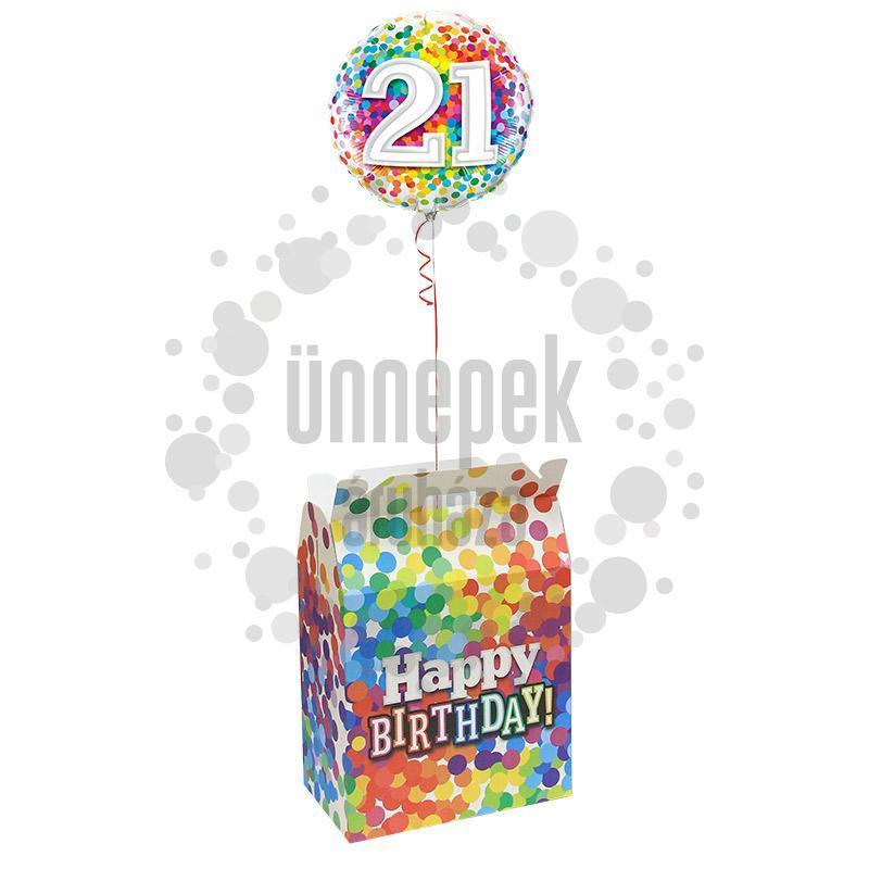 Birthday Confetti - Szülinapi Konfetti Mintás Ajándékdoboz Lufinak