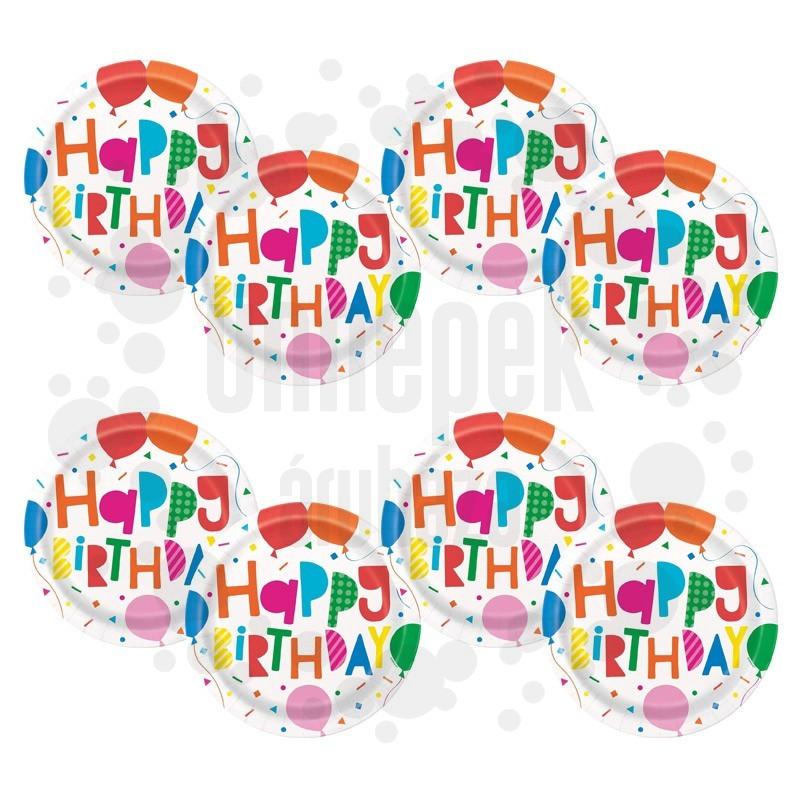 Színes Léggömb Mintás Happy Birthday Colourful Balloons Parti Tányér - 22 cm, 8 db-os