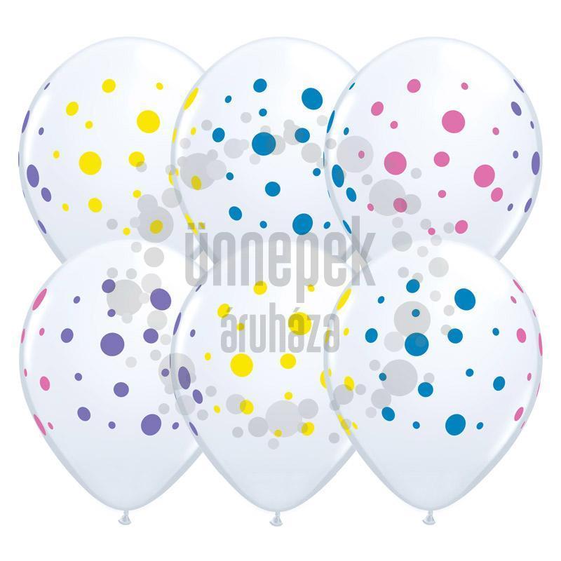 11 inch-es Színes Pöttyös Mintás - Colorful Dots White Kerek Lufi (6 db/csomag)