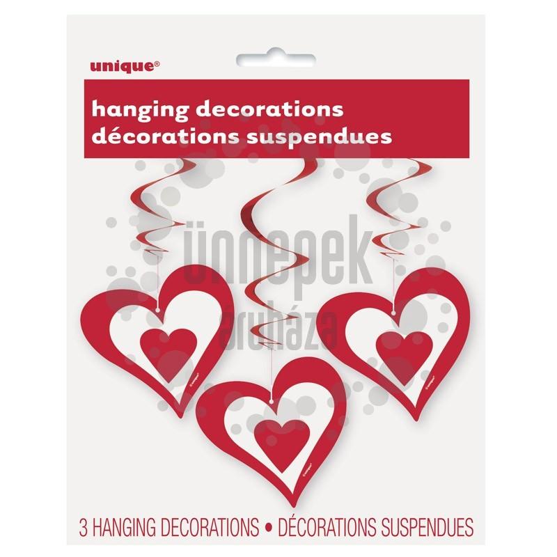 Piros Szívek Spirális Függő Dekoráció, 3 db-os