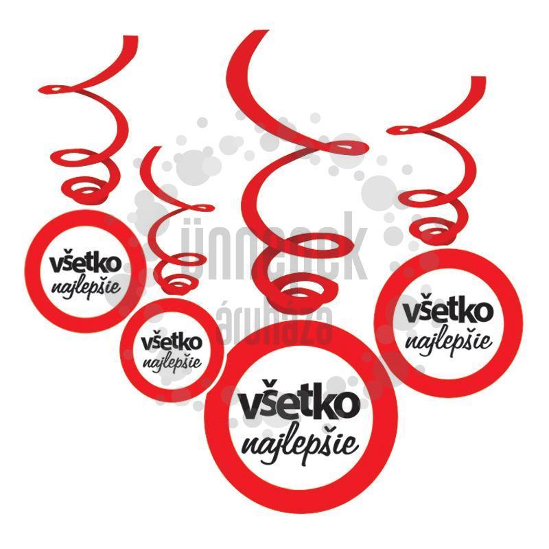 Vsetko Najlepsie! Szlovák Sebességkorlátozó Szülinapi Spirális Függő Dekoráció - 6 db